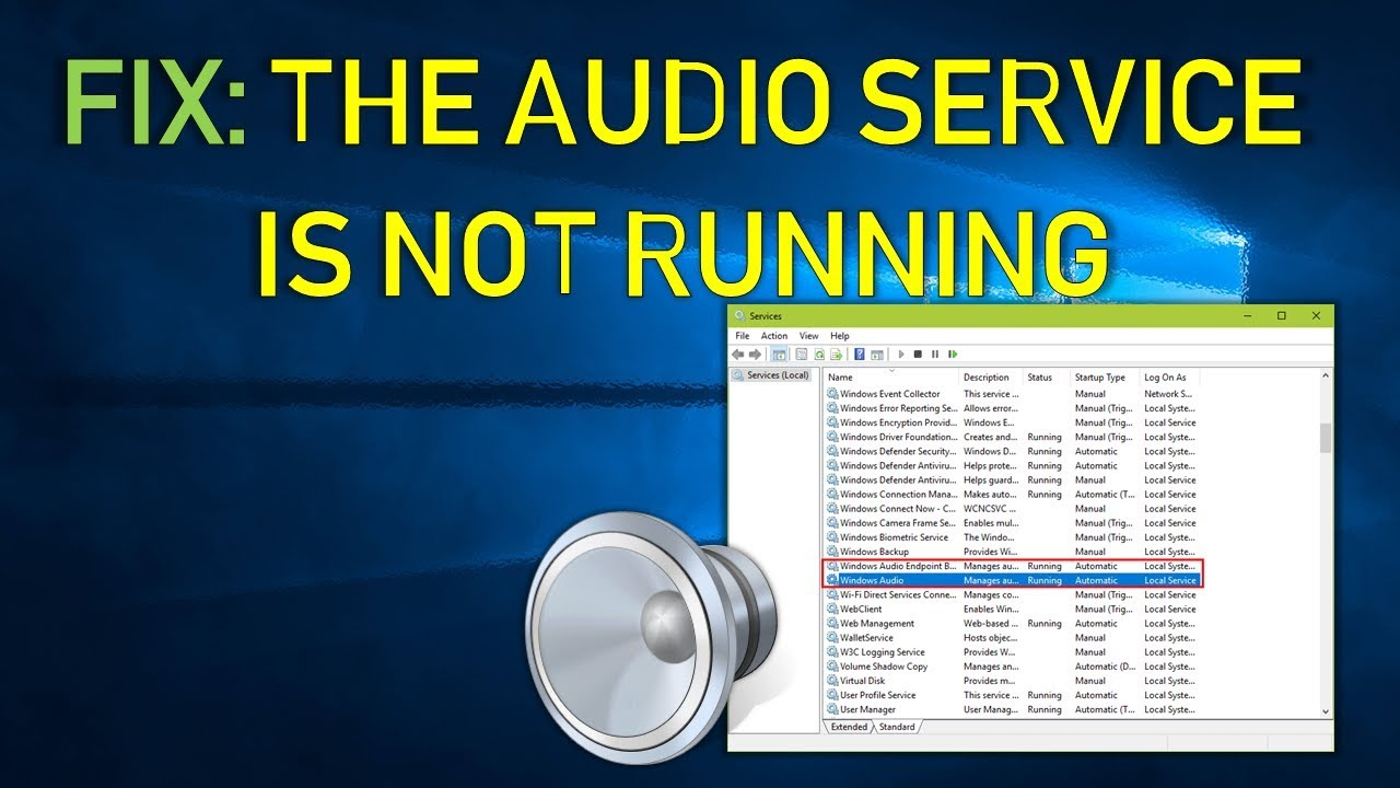 Audio Service Is Not Running In Windows - What To Do?