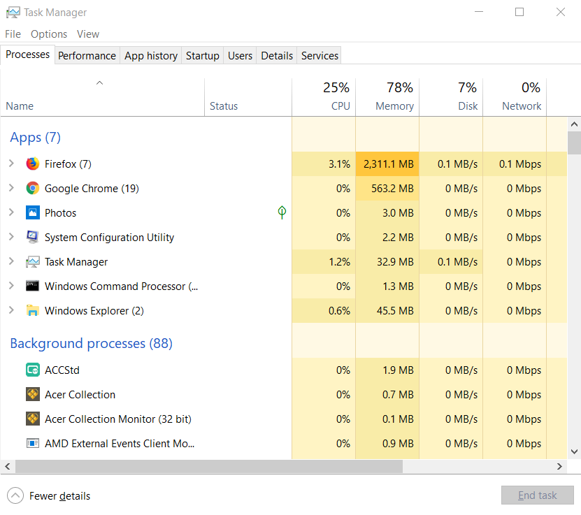 Access task manager