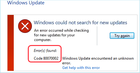 How to complete the windows update if an error occurs