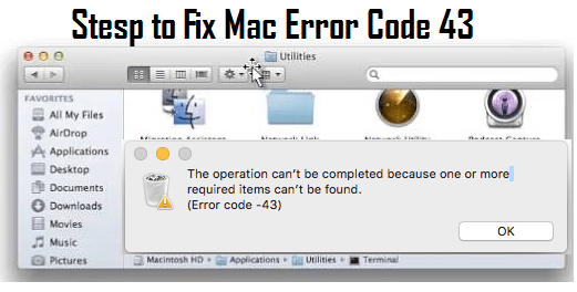 Description of MacKeeper tool to fix error code 43 mac dsSystemFileErr infection