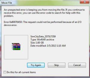 error 0x8007045d solution