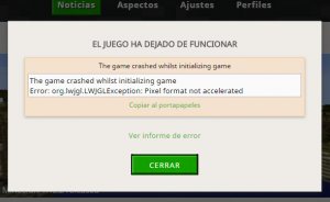 Error org.lwjgl.LWJGLException