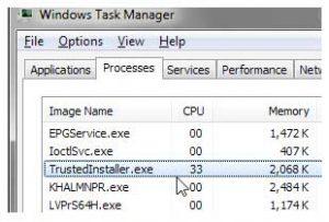 TrustedInstaller task manager